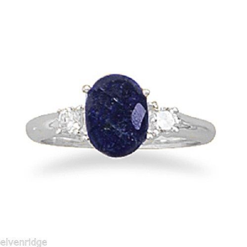 Rough-Cut Sapphire and CZ Ring Sterling Silver