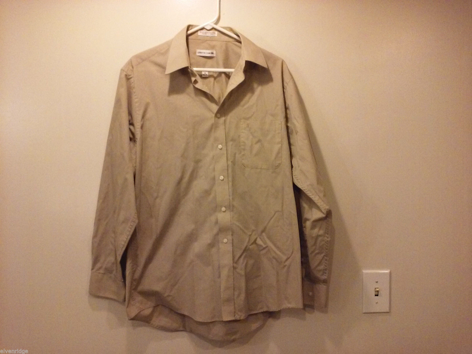 Pierre Cardin Men's Size 16 Shirt Career Work Business Button-Down Taupe Brown