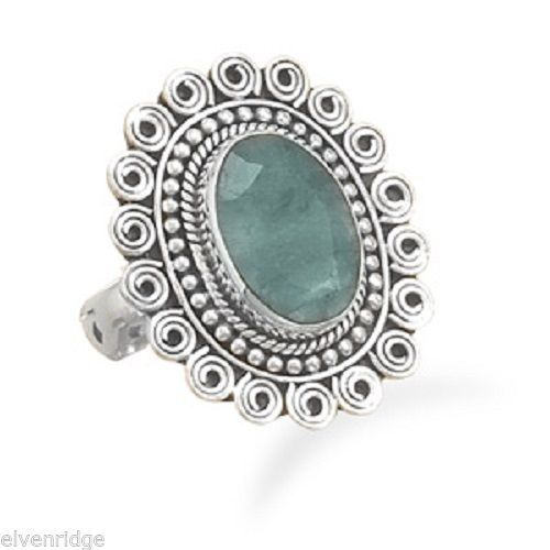 Oval Rough-Cut Emerald Ring Sterling Silver