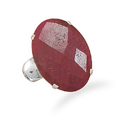 Oval Faceted Rough-Cut Ruby Ring Sterling Silver