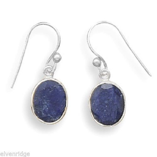Oval Faceted Rough-Cut Sapphire Earrings Sterling Silver