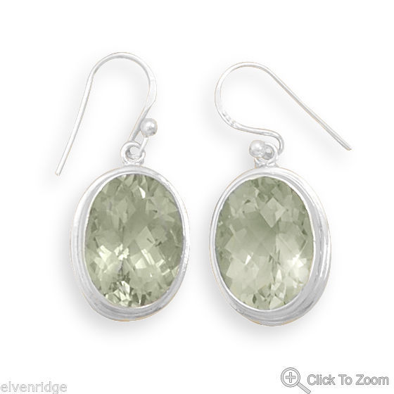Oval Green Amethyst Earrings Sterling Silver