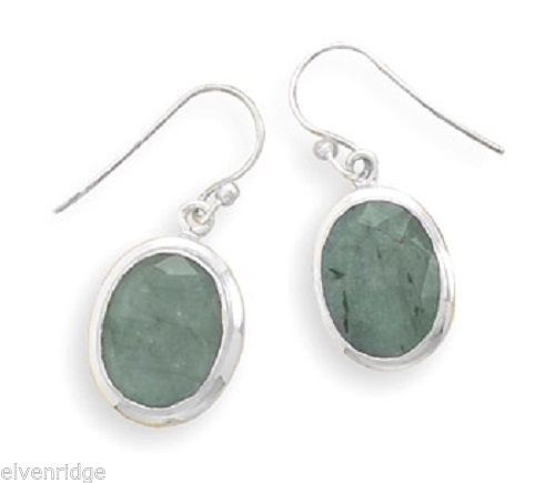 Oval Rough-Cut Emerald French Wire Earrings Sterling Silver