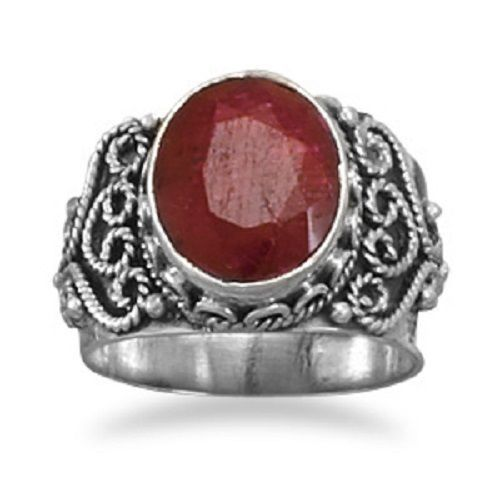Oval Rough-Cut Ruby Ring Sterling Silver