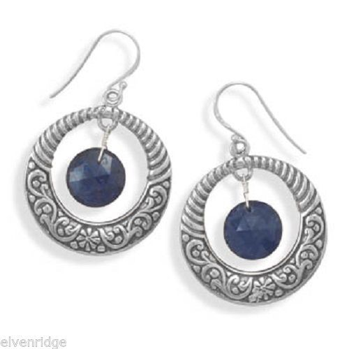 Oxidized Earrings with Sapphire Drop Sterling Silver