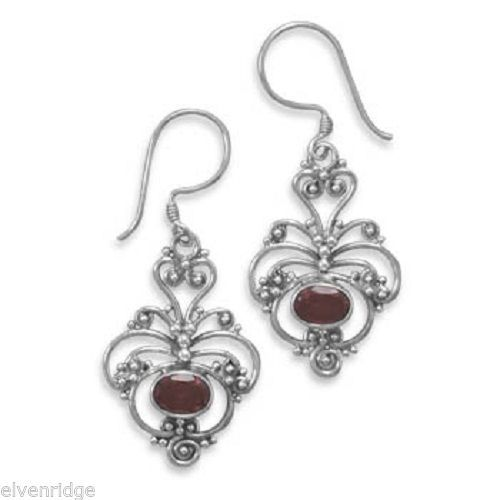 Oxidized Ornate Garnet Earrings Sterling Silver