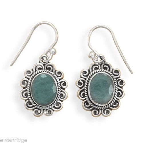 Oxidized Rough-Cut Emerald French Wire Earrings Sterling Silver