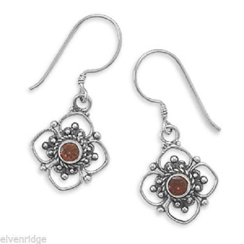 Round Faceted Garnet/Cut Flower Design Earrings on French Wire sterling SIlver