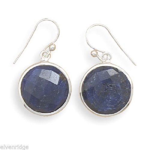 Round Faceted Rough-Cut Sapphire Earrings Sterling Silver