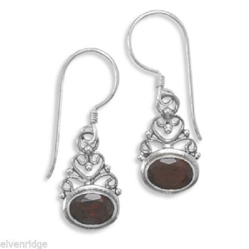 Scroll Design and Garnet Earrings Sterling Silver