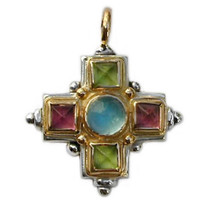 Gerochristo 5096 - Gold, Silver & Stones Medieval-Byzantine Cross Pendant  - $770.00