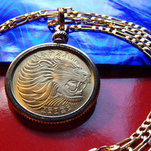 "BRASS GOLDEN LEO SIGN LION BEZEL COIN PENDANT on a 24"" Gold Filled Chain... - $75.00"