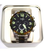 BRAND NEW FOSSIL JR1498 NATE CAMOUFLAGE & SILVER STEEL CHRONOGRAPH MEN'S WATCH - $87.07