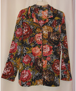 CABERNET SOFT STRETCH MULTICOLOR FLOWERS BUTTON DOWN SHIRT TOP RUFFLES P... - $9.99