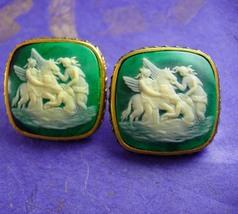 HUGE Mythology Cufflinks 3 Graces &  Pegasus Vintage Extra large Mythical Winged - $375.00