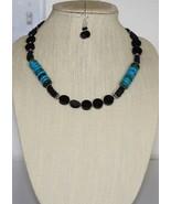 Onyx & Tibetan Turquoise Necklace and Onyx Earrings - $48.00