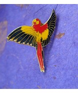 Bright and colorful Parrot Tie Tack Vintage men's flying rain forest bir... - $65.00
