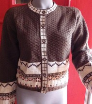 Vintage Ann Taylor 100% Wool Nordic Trim Cardigan Sweater Size SMALL - $23.22