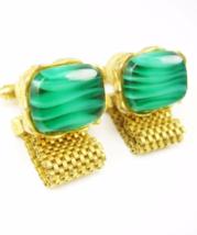 Distinctive Green slag glass Cufflinks Vintage Golden Wrap Mesh Wedding Tuxedo F - $95.00