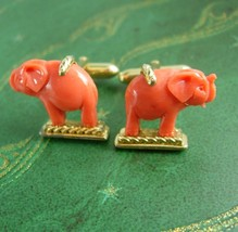 Good Luck Chinese ELEPHANT Cufflinks Men's novelty figural Indian Circus... - $225.00