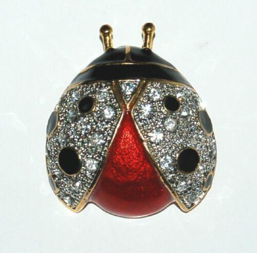 Unbranded BVTPN Ladybug Pin Clear Rhinestones Colors Black Red