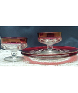 Vintage Indiana Glass Kings Crown Thumbprint Ruby Red Flashed Glass Snac... - $18.00