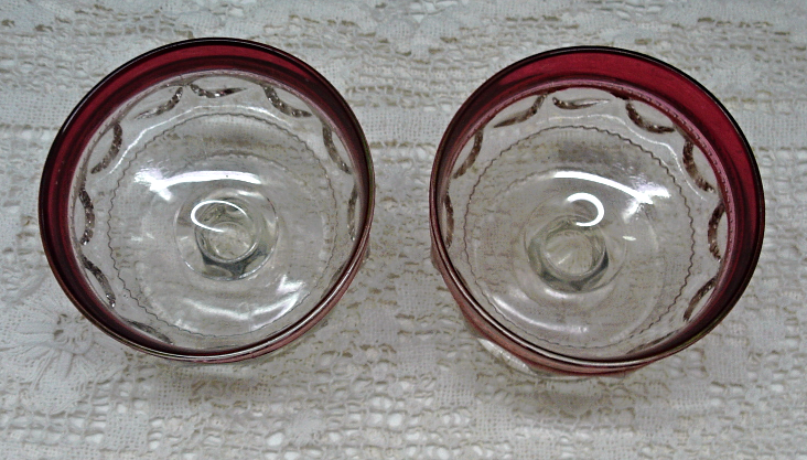 Vintage Indiana Glass Kings Crown Thumbprint Ruby Red Flashed Glass Snack Set