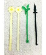 4 Figural Swizzle Sticks Arrowhead Daisy Parrot - $12.38
