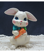 Vintage Ceramic  Painted Easter Rabbit With Carrot, Easter Decor, White ... - $8.50
