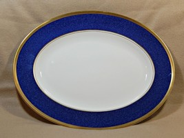 "Athlone Blue Coalport England 14"" OVAL SERVING PLATTER 22K gold trim G74 - $239.99"