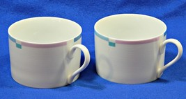 Jet Set by Mikasa L5543 LOT of 2 STRAIGHT FLAT CUPS china pink blue S616359 - $17.99