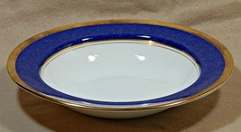 "Athlone Blue Coalport England 7 7/8"" RIMMED SOUP BOWL 22K gold trim G74 - $139.99"