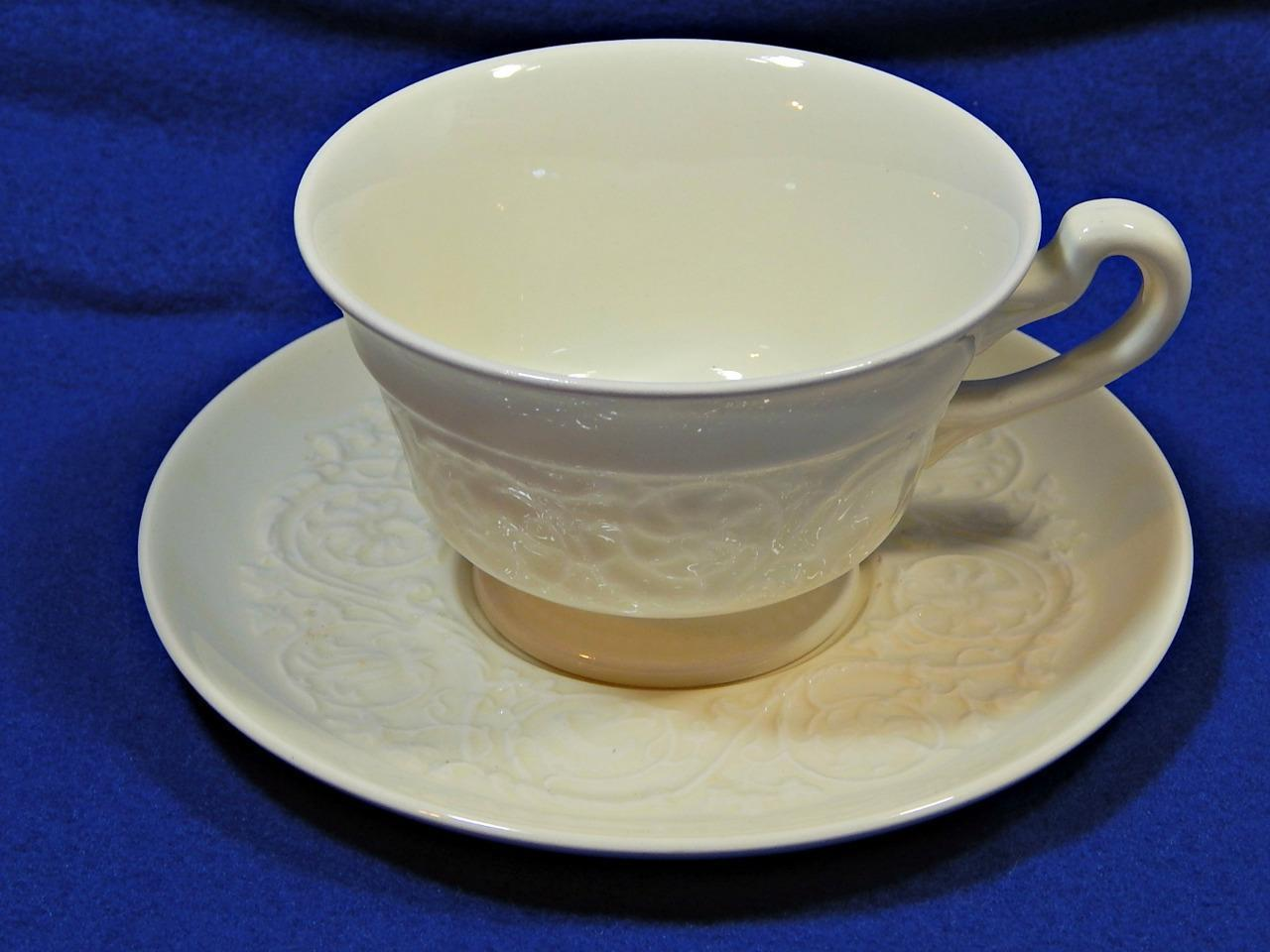 Patrician Plain Wedgwood FOOTED CUP + SAUCER off-white embossed rim vintage G42
