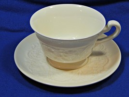 Patrician Plain Wedgwood FOOTED CUP + SAUCER off-white embossed rim vint... - $21.99