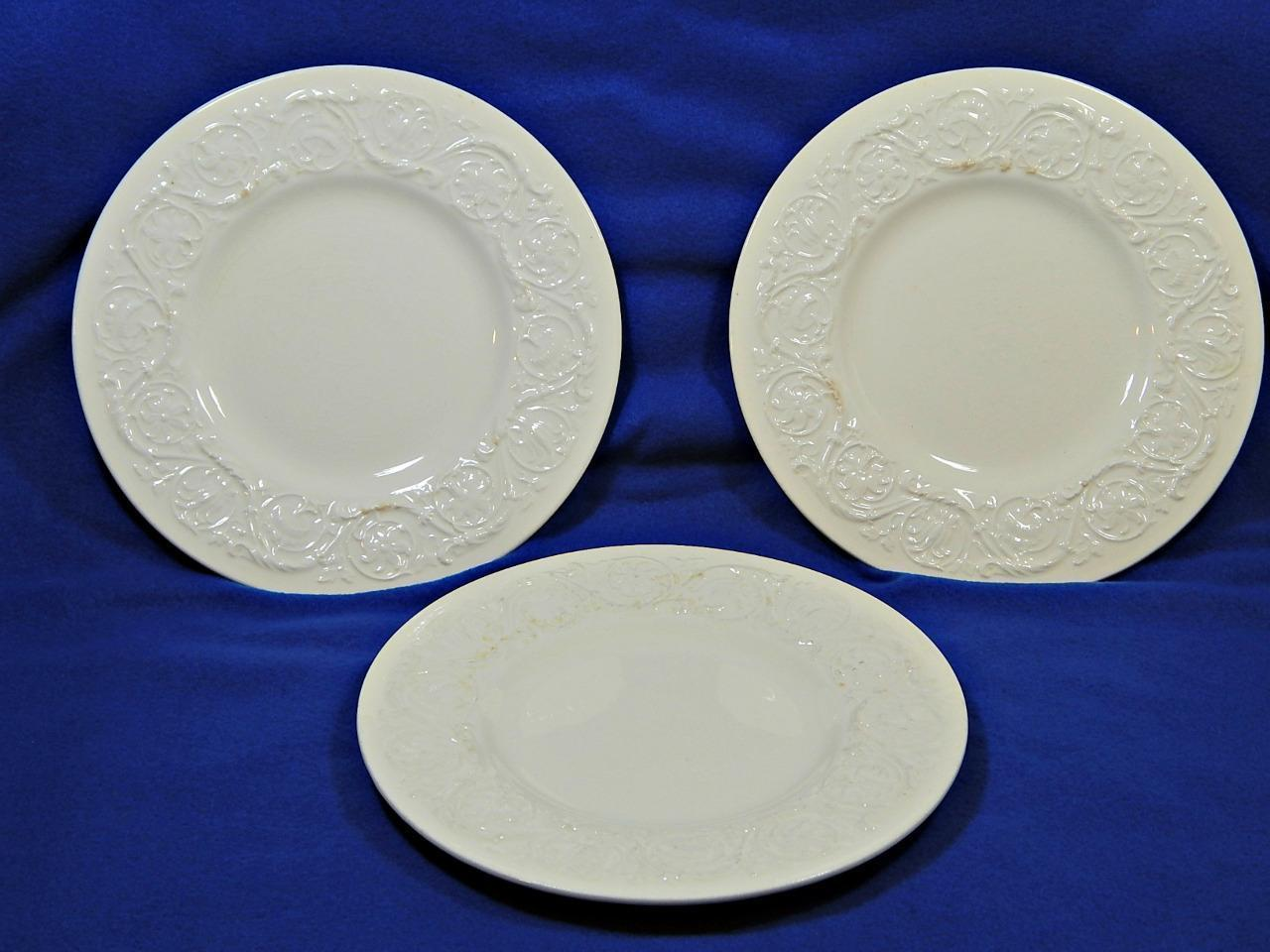 Patrician Plain Wedgwood LOT of 3 SALAD DESSERT PLATES off-white embossed G42