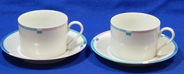 Jet Set by Mikasa L5543 LOT of 2 FLAT CUPS + 2 SAUCERS china pink blue S616359 - $26.99