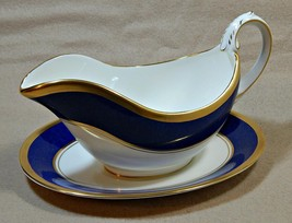 Athlone Blue Coalport England GRAVY BOAT + UNDERPLATE blue rim 22K gold ... - $299.99