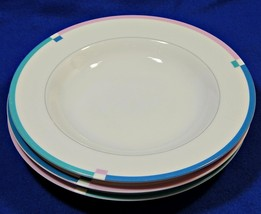 "Jet Set by Mikasa L5543 LOT of 3 RIMMED 8.5"" SOUP BOWLS china pink blue S616359 - $39.99"