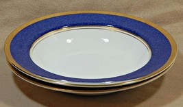 "Athlone Blue Coalport England 7 7/8"" LOT of 2 RIMMED SOUP BOWL 22K gold ... - $145.99"