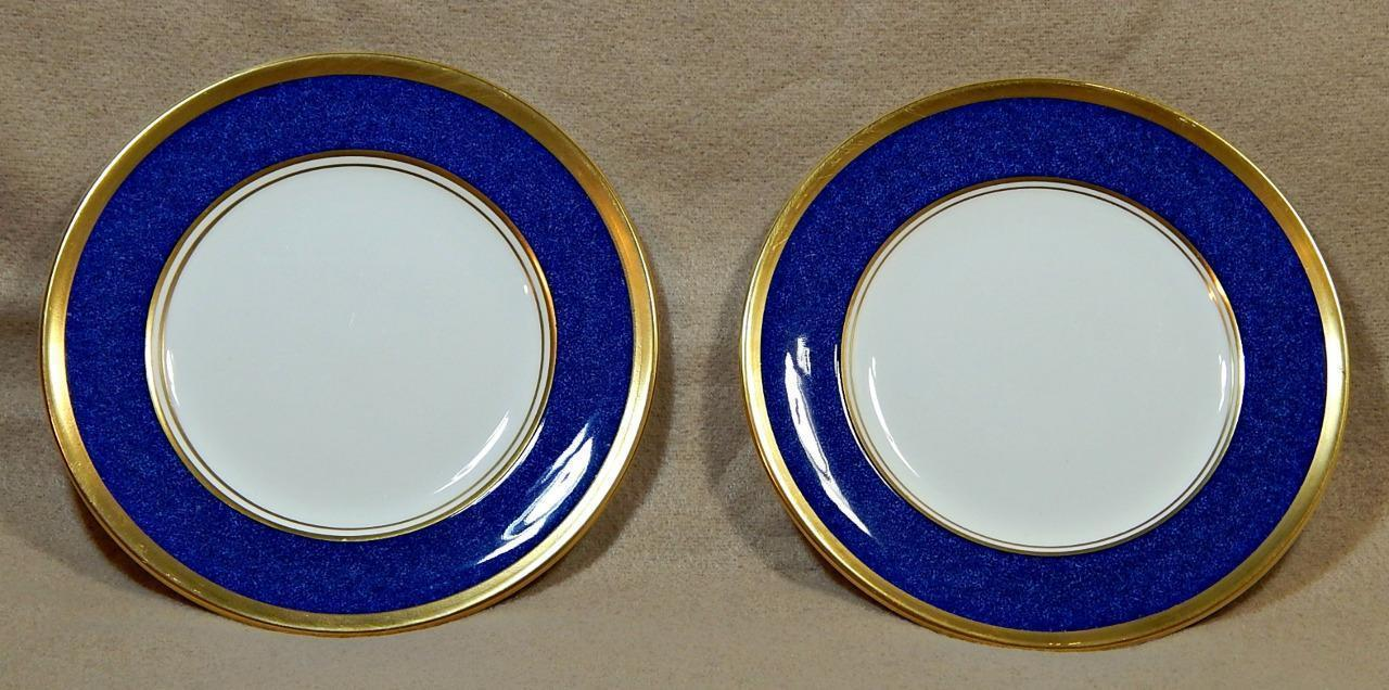 Athlone Blue Coalport England LOT of 2 BREAD BUTTER PLATES 22K gold trim G74 image 1