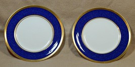 Athlone Blue Coalport England LOT of 2 BREAD BUTTER PLATES 22K gold trim... - $74.99