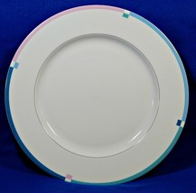 "Jet Set By Mikasa L5543 12"" Round Serving Platter Fine China Pink Blue S616359 - $39.99"