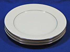Buckingham by Noritake LOT of 3 SALAD DESSERT PLATES 6438 white platinum... - $41.99
