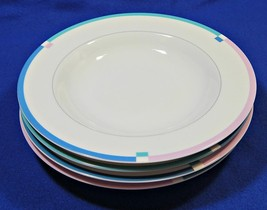 Jet Set By Mikasa L5543 Lot Of 4 Salad Dessert Plates China Pink Blue S616359 - $49.99