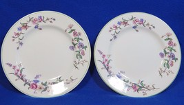 Devon Sprays Green by Wedgwood LOT of 2 DESSERT PLATES flowers long stem... - $49.99