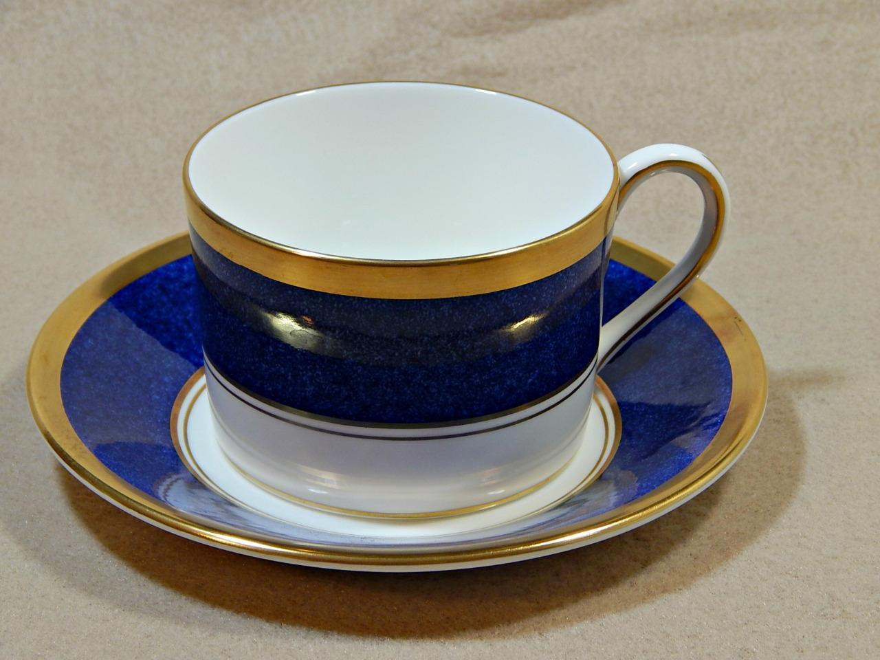 Athlone Blue Coalport England FLAT CUP + SAUCER blue rim 22K gold trim G74