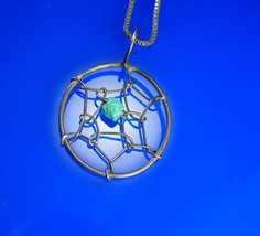 Dream Catcher Indian necklace sterling pendant  Vintage Native American turquois - $95.00