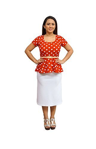 DBG Women's Coral White Polka Dots Short Sleeves Blouse-S