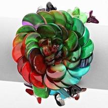 Multi-colored Nacre Flower Stone Bead Stretch Bracelet USA SELLER - ₨613.63 INR