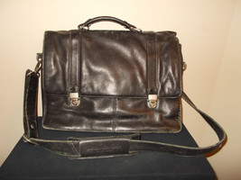 Kenneth Cole Leather Messenger Briefcase Laptop... - $121.19